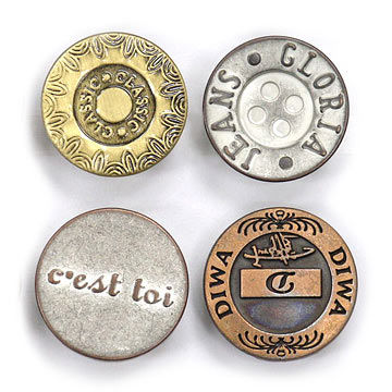 Taiwan Jean Buttons, Customized Cap Logos are Welcome, with Brass Arrow or Aluminum Tack