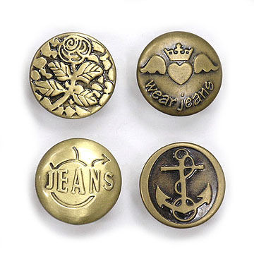 Taiwan Jean Buttons, Made of Brass, Alloy and Iron, Customized Cap Logos are Welcome
