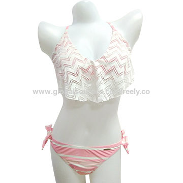 China Summer fashion sexy lady bikini bathing suit swimwear with transparent mesh front and removable cups