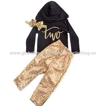 China Girl's hooded jacket set birthday hooded glitter letter printed