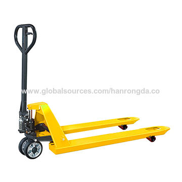 Hand pallet truck, with solid steel forks and chassis, PU/nylon wheel