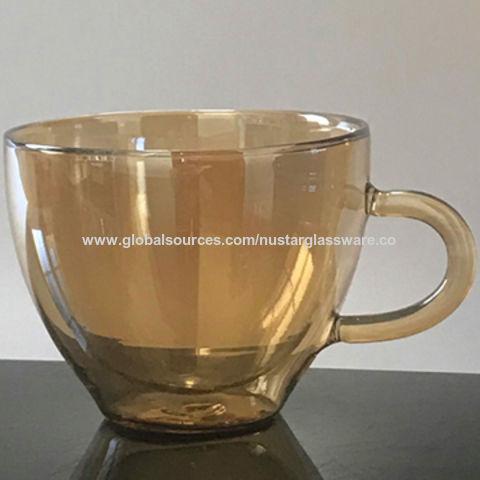 China Double Wall Gl Coffee Cup Tea With Handle 10oz