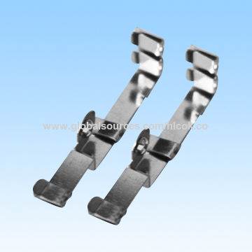 China Bottom contact metal stamping parts, made of H65EH, finished by nickel plating, with RoHS mark