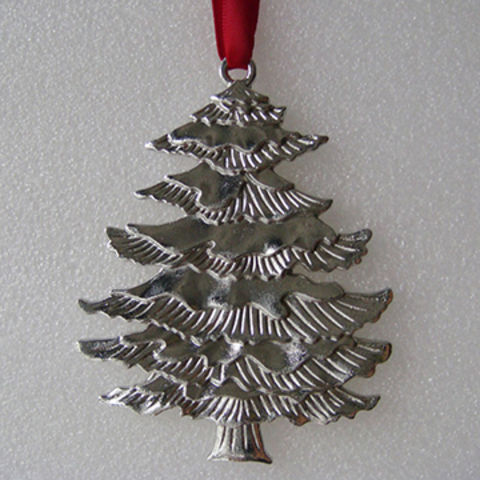 china silver plated embossed metal christmas tree decor ornament - Silver Plated Christmas Tree Decorations
