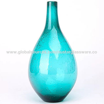 China Blue Hand Blown Bubble Glass Vase Slim Neck On Global Sources