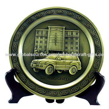 China Trophy with Plate Engraved 3D Building and Car, Metallic Stand
