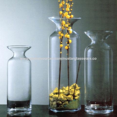 China Clear Glass Flower Vases Bottle Shape Glass Vases On Global