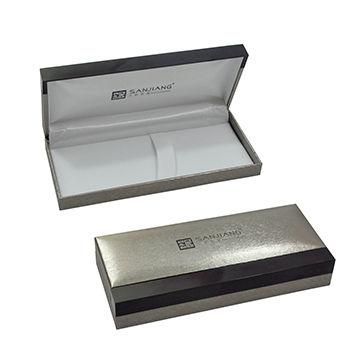 China Pen box in paper satin, plastic frame, OEM fashionable ...