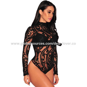 LingerieLingerie Black Sleeves China Bodysuit Long Print Sexy SGUpVqzM