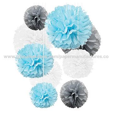 neutrals 5 tissue paper pom poms wedding decoration.htm umiss tissue paper pom poms light blue gray white decorations 9  umiss tissue paper pom poms light blue