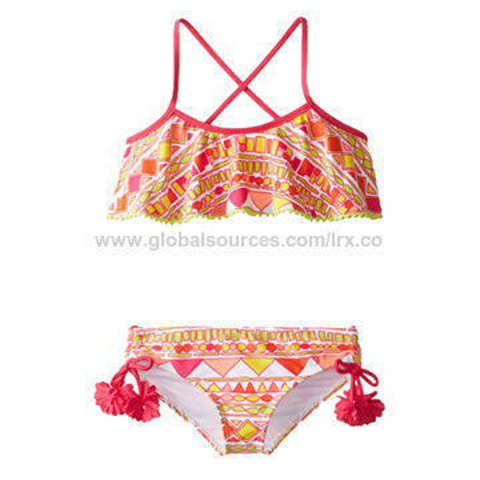 661026abf5aa4 China Girl's bikini,crisscross back strap,flouncing lace at top,triming at  side ...