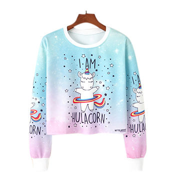 China Ladies Printed Colorful Anime Pony Sweatshirt Pullover Cute
