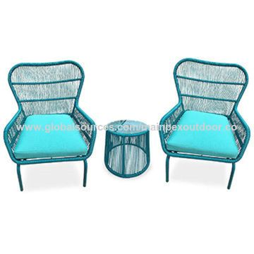 Weather Wicker 3 Piece Set, Turquoise Outdoor Furniture