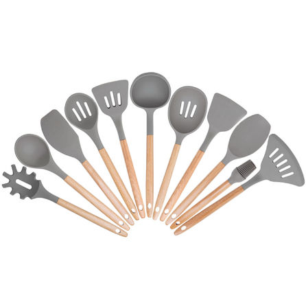 China 11 Pcs Beech Wood Kitchen Cooking Utensils Silicone Kitchen Accessories With Spatula Ladle Spoon On Global Sources