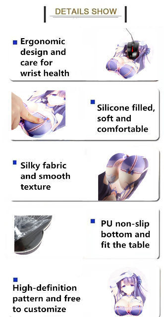 3D silicone Breast Anime Girl Computer and Gaming  Mouse Pad and Wrist Rest