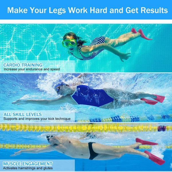1 Pair Rubber Swimming Snorkeling Training Short Fins Swim Flippers