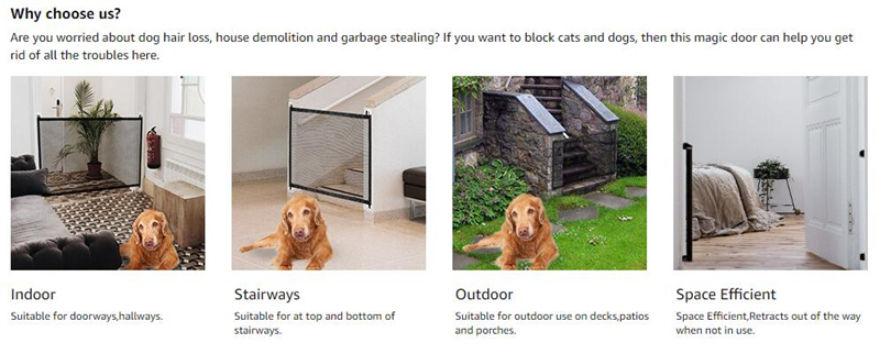 Dogs Cats Mesh Retractable Dog Gate, Outdoor Pet Gate With Door