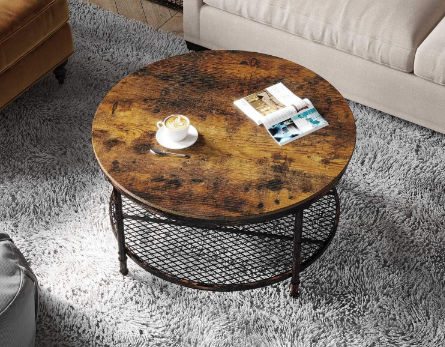 Living Room Wood Look Accent Furniture, Round End Tables With Storage For Living Room