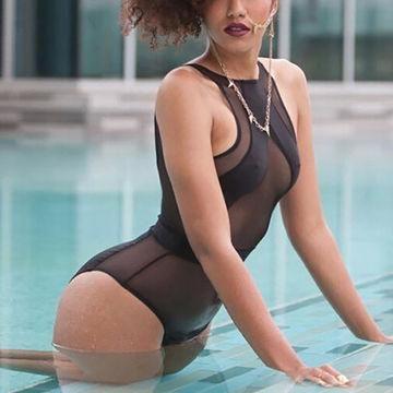 Mature in black bikini