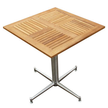 China Square Cafe Table With #304 Stainless Steel, Teak Garden Outdoor  Furniture