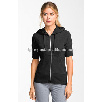 Hoodie - Black Women short sleeve hoodie | Global Sources