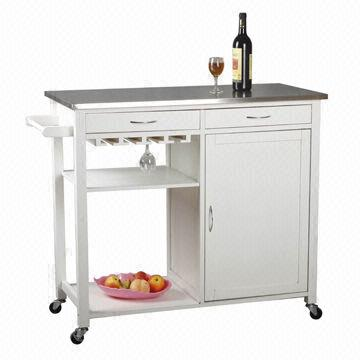 White kitchen trolley with towel hanger cabinet drawer and shelves global sources - Kitchen cabinets trolleys pictures ...