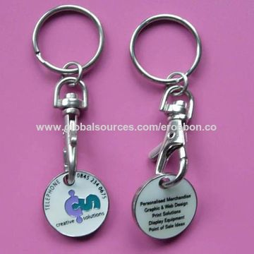 China Metal promotional trolley coin token keychain from Shanghai