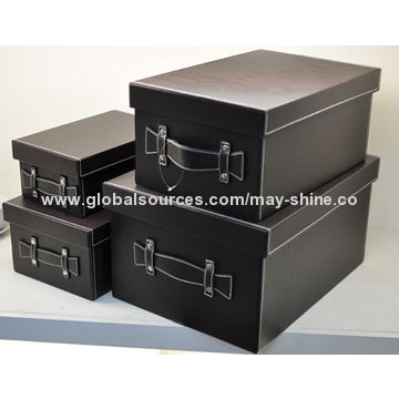 ... China Large Decorative Leather Storage Boxes With Lids ...