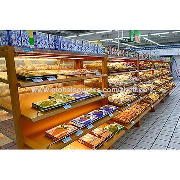Wooden Bakery Bread Display Rack With Lighting Shelf Cabinet