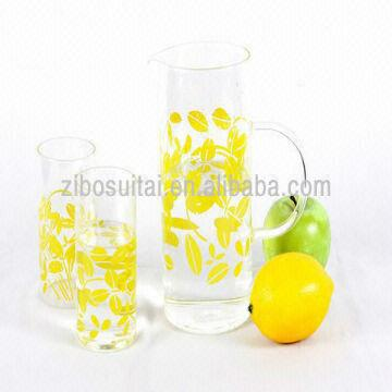 New Design Set 3 Borosilicate Gl Water Container and Cups ... on