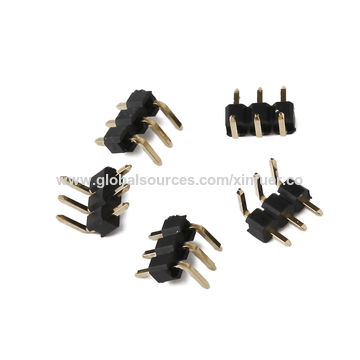 China 2.54mm Pitch Pin Header with 2.54mm height, 3.0A Current Rating Single-row and Right Angle Type