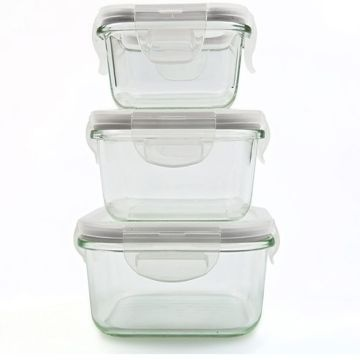 Square Ari Tight PyrexBorosilicate Glass Food Storage Container Set