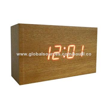 Desk Digital LED Wood Clock Vintage Table Alarm Clock DIY