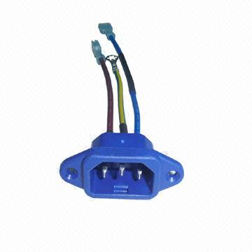 iec c14 power socket with wire harness global sources Marine Wiring Color Code Chart AC Wiring Color Code