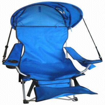 China Folding Beach Chair, Camping Chair With Canopy And Footrest