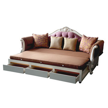 Functional classic sofa beds with extension and 3 drawers, made of ...