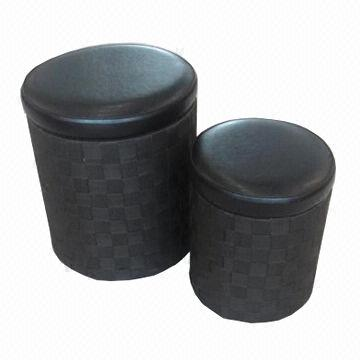 Roundshaped Storage Ottoman Made of PU or PVC Leather Large and
