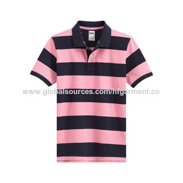 84135d4ee Navy and Pink Striped Men's Polo Shirt, Made of Yard Dyed Cotton Pique, Custom  Embroidery Logo