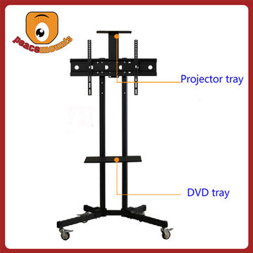 ... China Hospital Use Freestanding LCD Rotate 360 Degrees DVD Tray TV Stand  With Four Swivel Casters ...