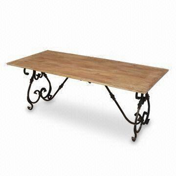 India Wrought Iron Dining Table With Br Ing And Mango Wood Top Measures 180