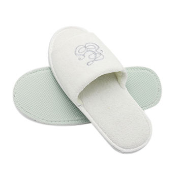 ab8e788925d98 China 100% cotton terry towel disposable hotel slippers embroidered ...