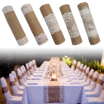 China Natural hessian table cloth, hessian runners 30cm*3m with 15cm white lace