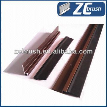 China Bottom Door Sliding Rubber Strip Door Seal With Aluminium Holder