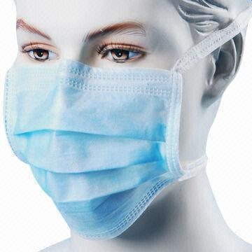 And In Hospital 3-ply Ties Mask With Used Disposable Face