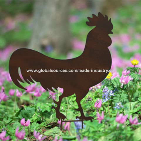 China Metal farm Animal,Rooster Silhouette garden stake with rusty