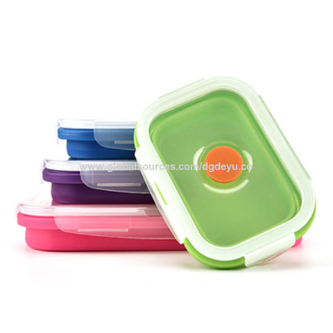 China Collapsible Square Silicone Food Storage Container BPA Free