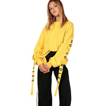 China Wholesale Women Bulk Long Printed Ribbon Tape Ladies  Yellow Hoodie  ... b30b5ce4e6