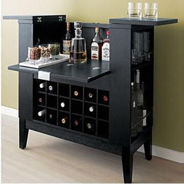 China Wooden Wine Bar Rack With Black Color