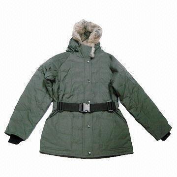 Women S Padded Jacket With Rabbit Fur Inside Hood Tape Belt Wind
