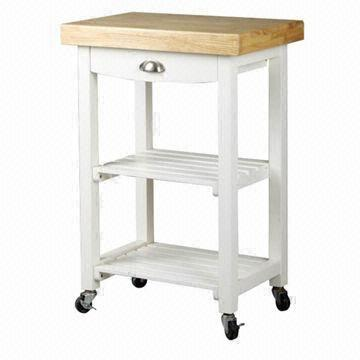 China Kitchen Cart With Drawer, Shelves In White Color Made Of Pine Wood